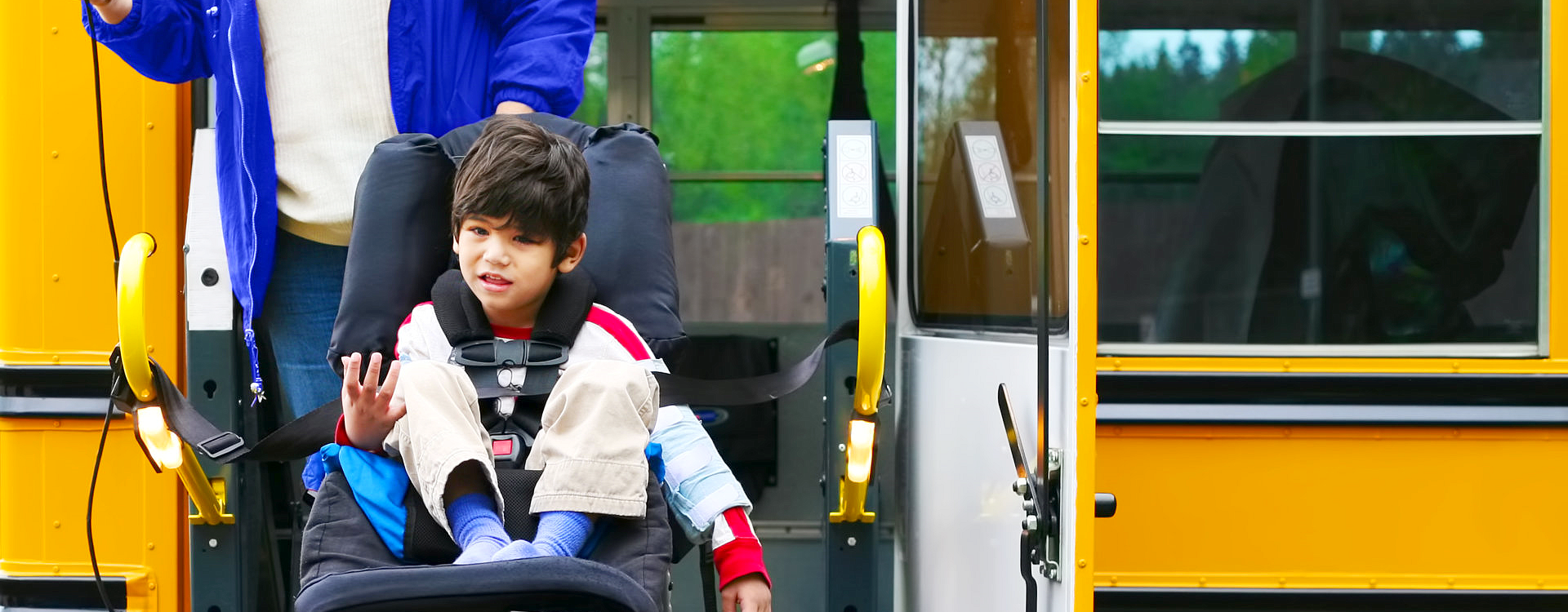 young boy on a wheelchair